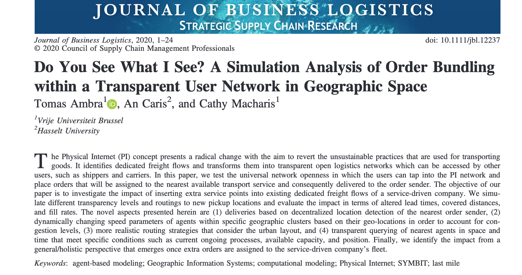 Publication in the Journal of Business Logistics